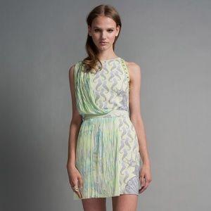 RARE Versace Seahorse Print Draped Dress Green 38